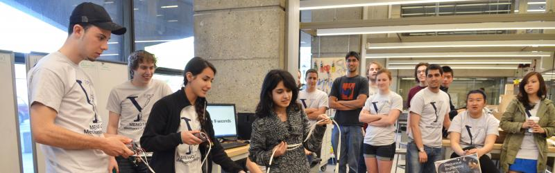 Group of students with physical design project